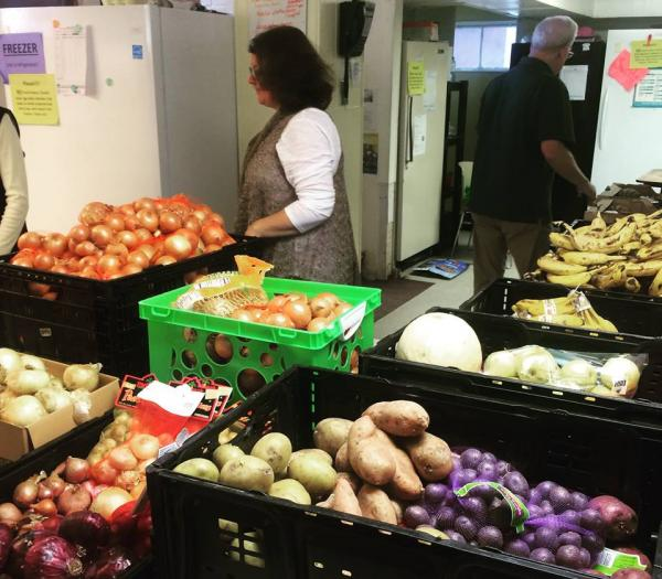 Food pantry groceries at Grace Episcopal